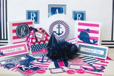 Classroom Decor Preppy Nautical Hot Pink and Navy Blue - Full Collection