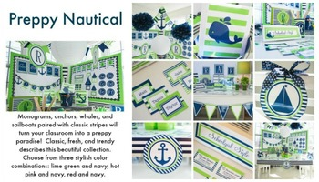 Classroom Decor Preppy Nautical Lime Green and Navy - Full Collection Bundle
