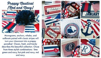 Classroom Decor Preppy Nautical Red and Navy - Full Collection Bundle