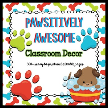 Classroom Decor Puppy Paw Print Theme