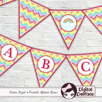 Classroom Decor / Rainbow Alphabet Banner / Welcome Pennant Banner