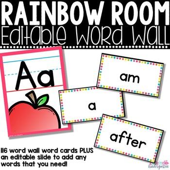 Classroom Decor - Rainbow Word Wall Editable