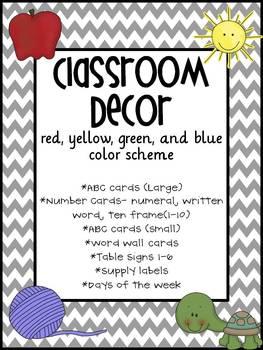 Classroom Decor- Red, Blue, Yellow, Green