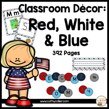 Classroom Decor: Red, White and Blue
