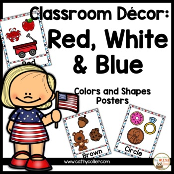 Classroom Decor: Red, White, and Blue Color and Shape Poster
