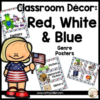 Classroom Decor: Red, White, and Blue Genre Poster ONLY