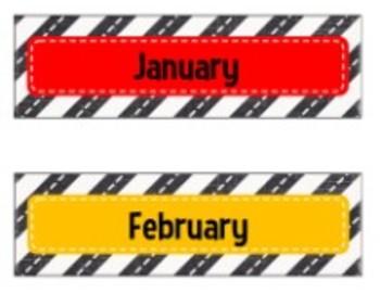 Classroom Decor Road Trip Calendar Months
