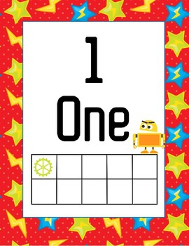 Classroom Decor Robot Numbers 1-10