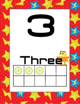 Classroom Decor Robot Numbers 1-20