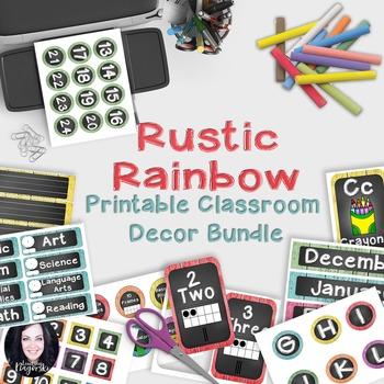 Classroom Decor - Rustic Rainbow (Wood, chalkboard and brights)