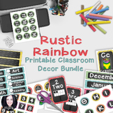 Classroom Decor - Rustic Rainbow (Wood, chalkboard and brights)
