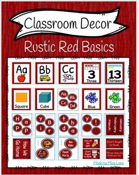 Classroom Decor: Rustic Red Basics