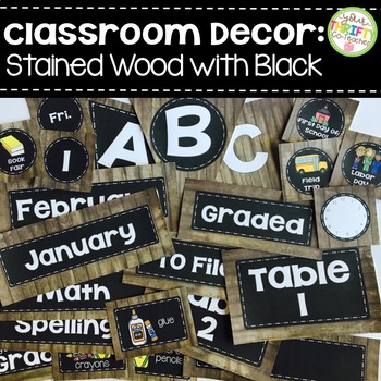 Classroom Decor Rustic Wood and Black EDITABLE