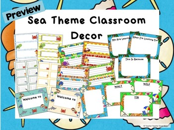 Classroom Decor Sea Theme Editable Desk Tags Labels Welcome Walt Wilf Tib