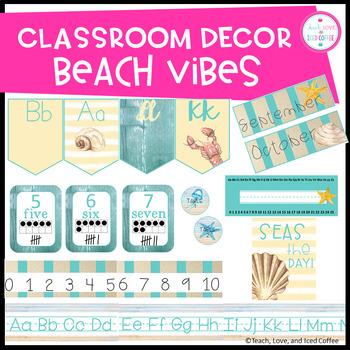 Classroom Decor Set Beach Vibes (EDITABLE)