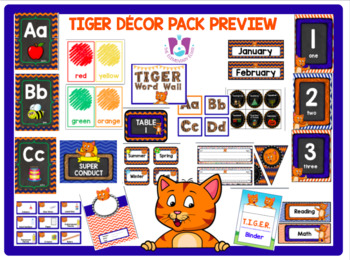 Classroom Decor Set - Blue Orange Tigers Theme