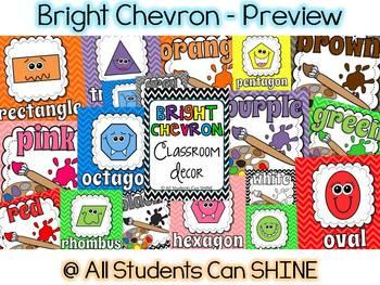 Classroom Decor Set - Bright CHEVRON!