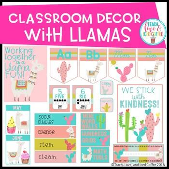 Classroom Decor Set Llama Edition (EDITABLE)
