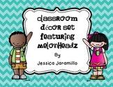 Classroom Decor Set Featuring Melonheadz Clipart