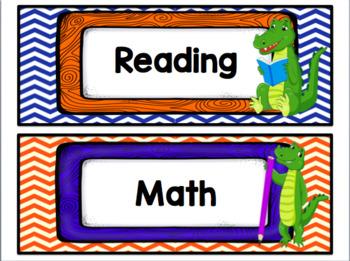Classroom Decor Set - Blue Orange Gators Theme