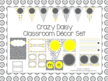 Classroom Decor Set and Labels ~ Gray and Yellow ~ Crazy Daisy {Editable}