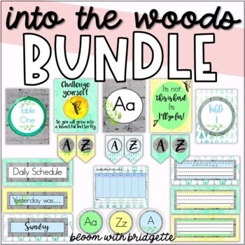 Classroom Decor Set - HUGE BUNDLE ( Calming Woodland Theme )