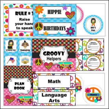 Classroom Decor Set ~ Hippie Groovy ~