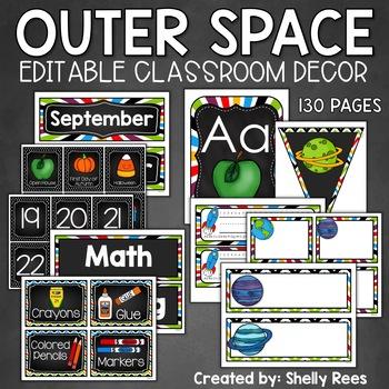 classroom decor outer space theme classroom editable