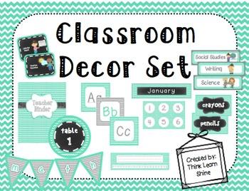 Classroom Decor Set- Teal, Gray, & Chalkboard