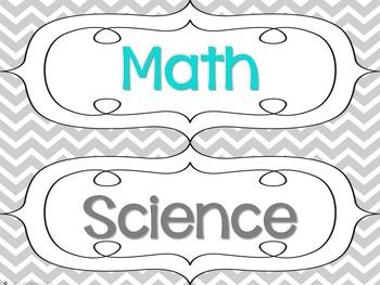 Classroom Decor Set: Turquoise, Gray, Chevron, Chalkboard