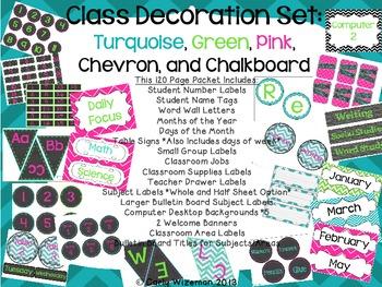 Classroom Decor Set: Turquoise, Green, Pink, Chevron, Chalkboard