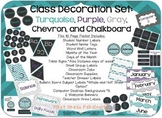 Classroom Decor Set: Turquoise, Purple, Gray, Chevron, Chalkboard