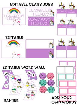 Classroom Decor Set Unicorns (EDITABLE)