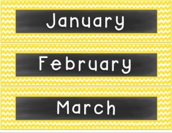 Classroom Decor Set- Yellow, Gray, & Chalkboard
