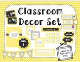 Classroom Decor Set- Yellow, Gray, & Chalkboard
