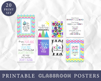 Classroom Decor - Set of 20 Prints - Classroom Wall Art, Inspirational Quotes