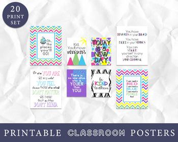Classroom Decor - Set of 20 Prints - Classroom Wall Art, Inspirational Quotes