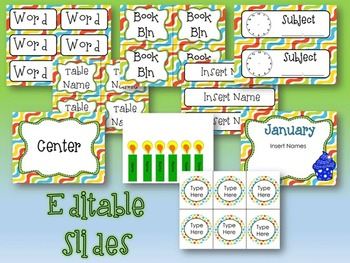 Classroom Decor -- Silly Squiggles -- Editable/Fillable