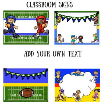 Sports Theme Editable Classroom Decor