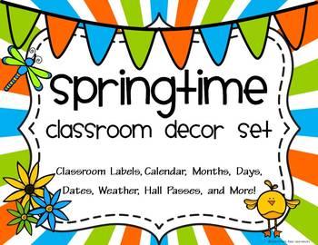 Classroom Decor Spring Fun -Huge Packet Labels, Calendar,