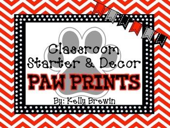 Classroom Decor & Starter Black & White Paw Prints Set