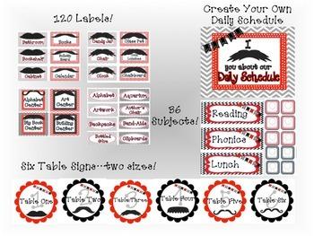 Classroom Decor & Starter Mustache Mania Set