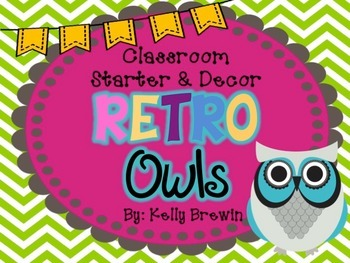 Classroom Decor & Starter Retro Owls Set