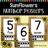 Classroom Decor Sunflower Number Posters 0-20