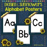Classroom Decor Sunflower and Denim Alphabet Posters