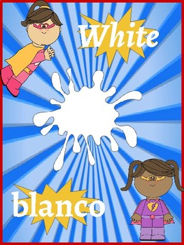 Classroom Decor- Superhero Themed Color Poster (English and Spanish)