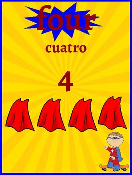 Classroom Decor- Superhero Themed Number Posters (Spanish/English)