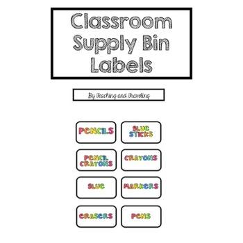 Classroom Decor Supply Bin Labels