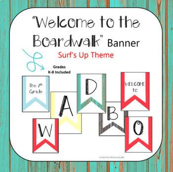 Classroom Decor Surfing & Boardwalk Themed BUNDLE