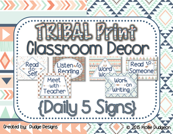 *Classroom Decor* - TRIBAL PRINT Daily 5 Signs
